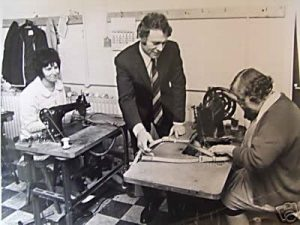Brian Marlow, Matt's father (1971) in our Walsall factory with two of his staff Marg and Lilley.
